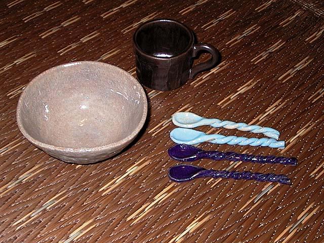 コーヒーカップ、小鉢、スプーン 土:唐津梅崎